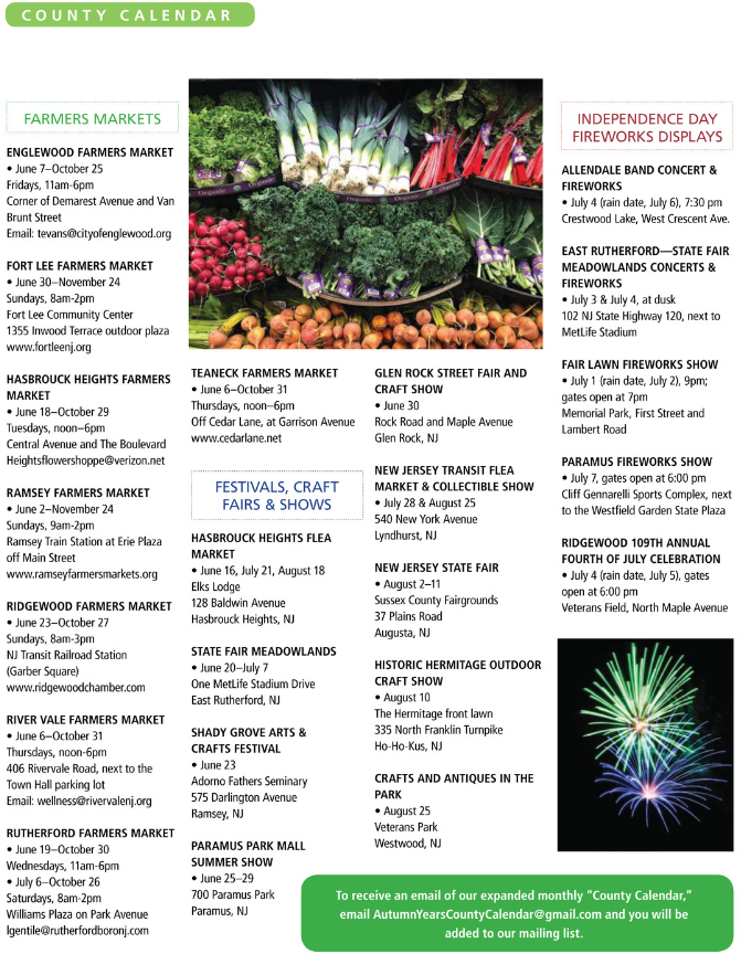 County Calendar | Autumn Years Magazine